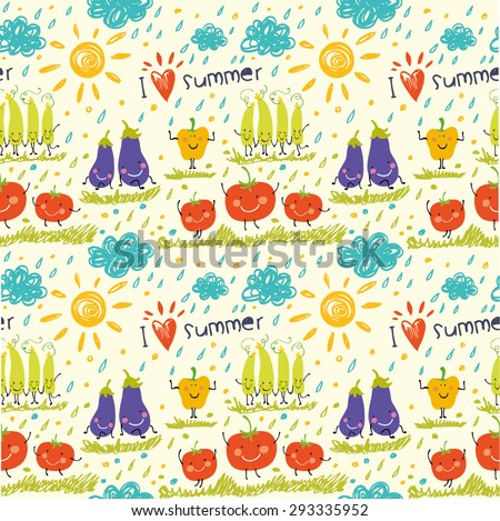 Cartoon pattern with funny vegetables. Seamless background with the sun, clouds, tomatoes, eggplants, peppers and cucumbers.