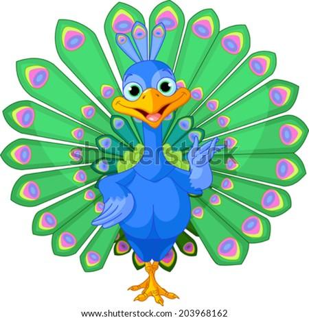 Cartoon peacock bird with beautiful tail. - stock vector