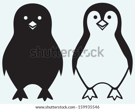 Cartoon penguin isolated on blue background - stock vector