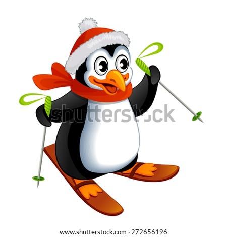 Cartoon penguin on ski - stock vector