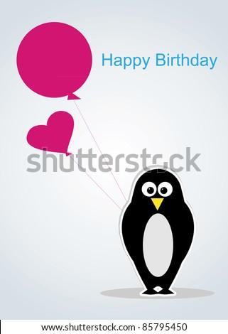 cartoon penguin with balloon.Postcard happy birthday - stock vector
