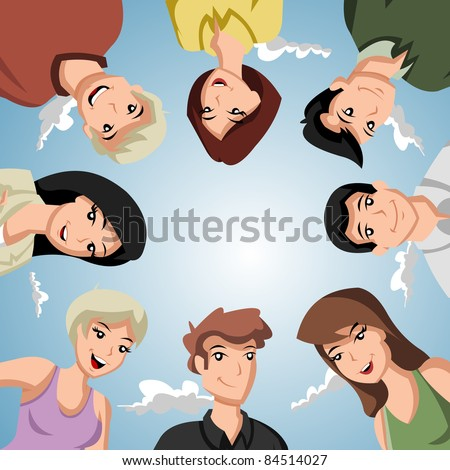 Cartoon people forming a circle of head - stock vector
