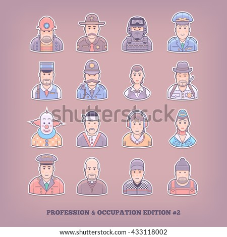 Cartoon people icons. Occupation and profession design elements. Flat concept vector illustration.