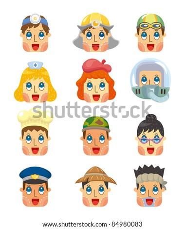 cartoon people job face icons set - stock vector