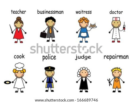 Cartoon people of various professions on a white background with captions - stock vector