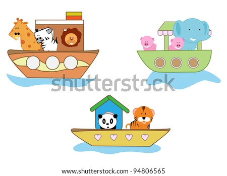 cartoon pictures of animals for baby accessories - stock vector