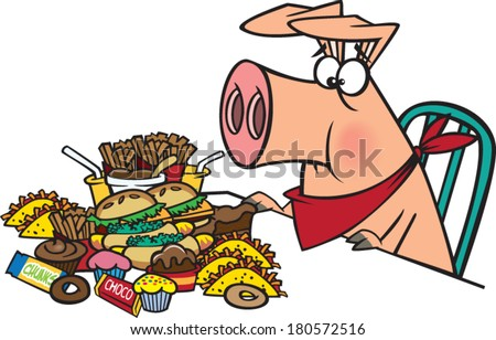 cartoon pig eating a pile of junk food - stock vector