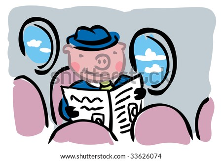 """Cartoon pig in business suit flying alone inside airplane to illustrate """"When pigs fly"""" metaphor - stock vector"""