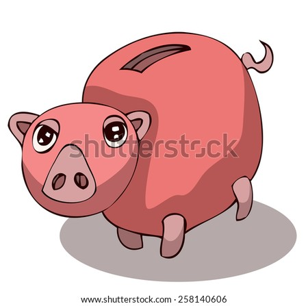 Cartoon Piggy Bank, Vector Illustration isolated on White Background.  - stock vector