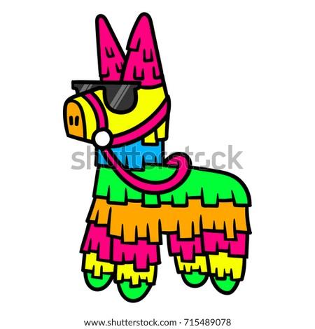 cartoon pinata wearing sunglasses stock photo photo vector rh shutterstock com mexican pinata clipart pinata clipart images