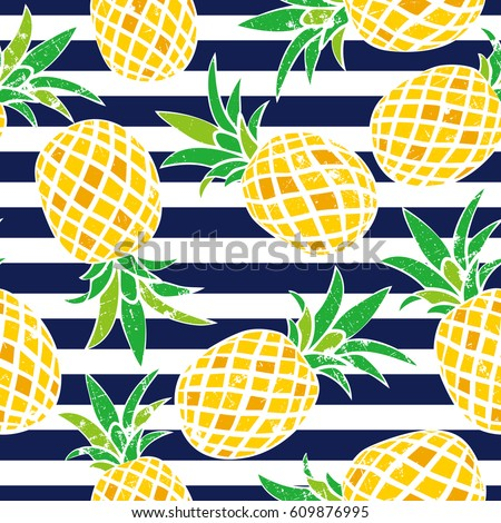 Cartoon Pineapple Vector Background Cute Summer Pattern Seamless Textile Illustration
