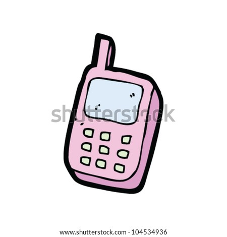 cartoon pink mobile phone - stock vector