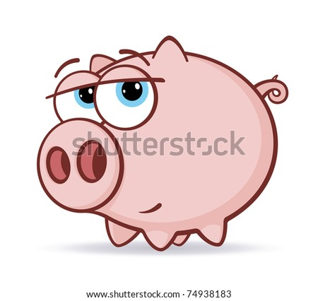 Cartoon pink pig vector illustration - stock vector