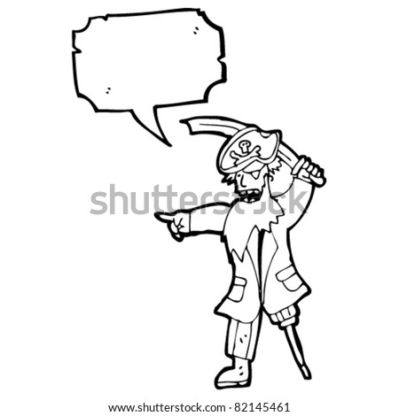 cartoon pirate captain with speech bubble - stock vector