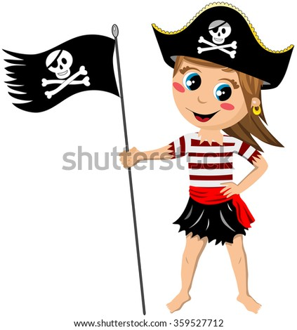 Cartoon pirate girl barefoot holding a jolly roger flag isolated - stock vector
