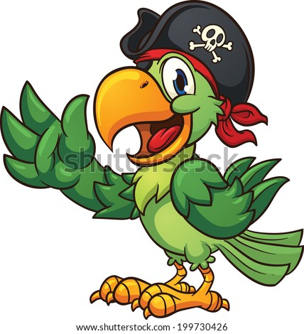 Cartoon pirate parrot. Vector clip art illustration with simple gradients. All in a single layer. - stock vector