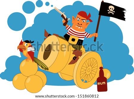 Cartoon pirate sitting on a cannon, firing a gun, waiving a flag, bottle of rum and a parrot sitting at his feet - stock vector