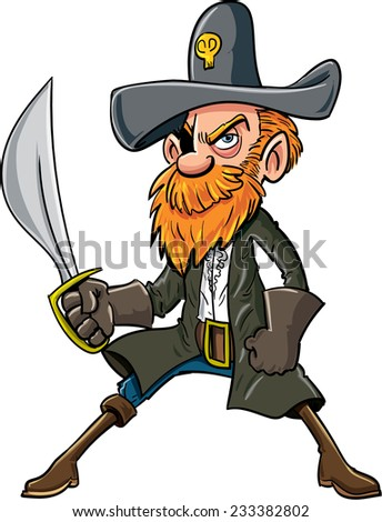 Cartoon pirate with a sabre. Isolated on white