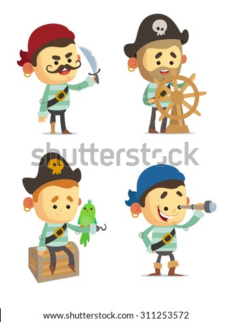 Cartoon Pirates - stock vector