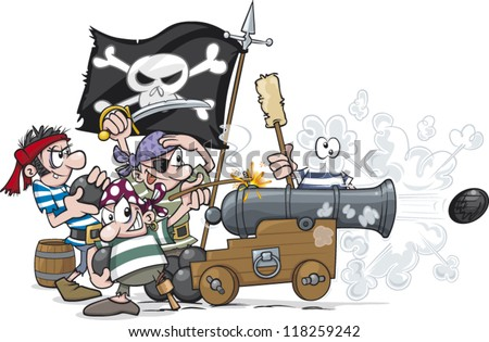 cartoon pirates firing their cannon stock vector (2018) 118259242