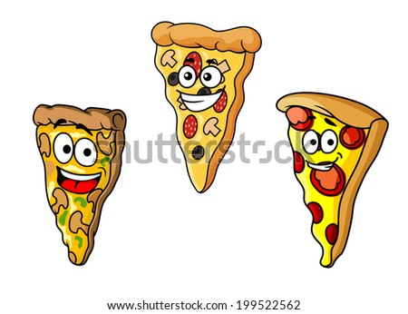 Cartoon pizza slices for fast food, cafe, restaurant and pizzeria logo design - stock vector