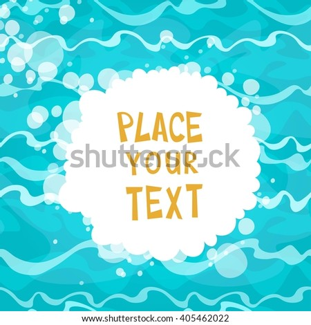 Cartoon placard on shiny blue water background with waves. Vector illustration. - stock vector