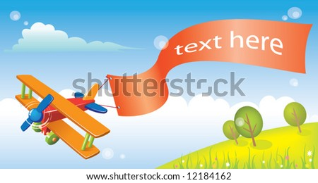 cartoon plane - stock vector