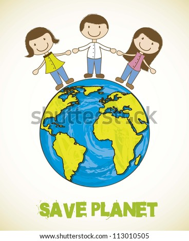 cartoon planet with people, save planet. vector illustration