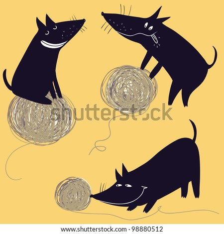 Cartoon playful dachshund - stock vector