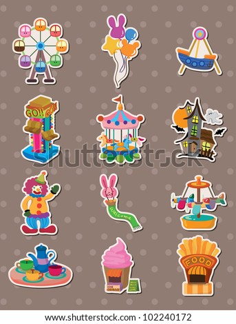cartoon Playground stickers - stock vector
