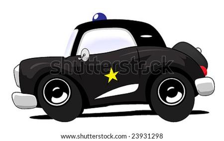 Cartoon police car - stock vector