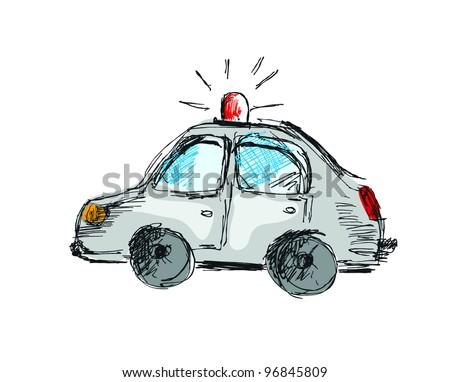 Cartoon police car, free hand drawing style, original design - stock vector