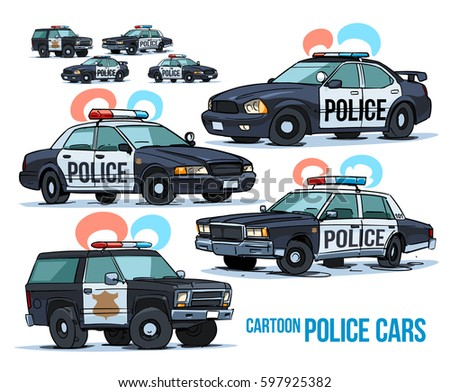 cartoon police cars isolated on white