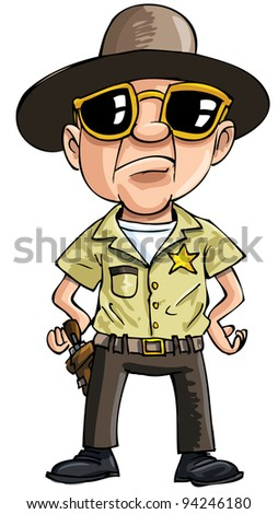 Cartoon policeman with dark glasses. Isolated on white - stock vector