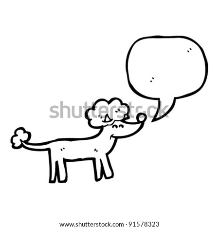 cartoon poodle with speech bubble