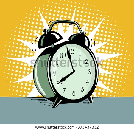 Cartoon pop art alarm clock. Comic retro hand drawn illustration - The alarm clock is ringing to wake up in the morning. Vector isolated on yellow halftone background. - stock vector