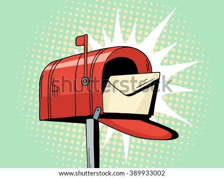 Cartoon pop art red mailbox send letter. Comic hand drawn illustration - mail delivery with envelope. Vector isolated on blue halftone background. - stock vector