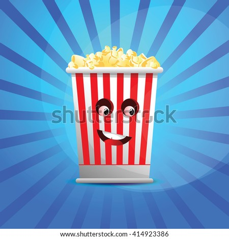 Cartoon popcorn bucket with attractive face.Icon for fast food cinema. - stock vector