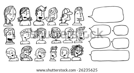 Cartoon portraits. Click on my name below for more cartoons and doodles. - stock vector