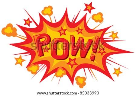 cartoon - pow (pow comic book illustration) - stock vector