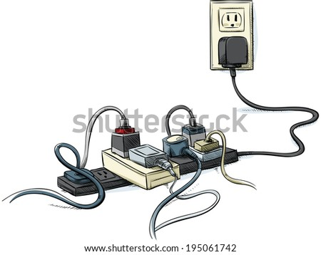 Cartoon power cords and bars combined in a tangle. - stock vector
