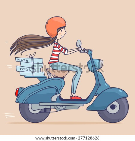 Cartoon pretty girl riding on a scooter in helmet ,pizza delivery. Vector illustration - stock vector