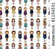 cartoon pretty office woman worker seamless pattern - stock vector