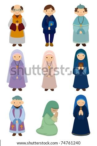 cartoon priest and nun icon - stock vector