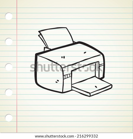 cartoon printer cartoon - stock vector