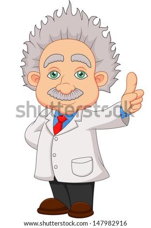 Cartoon professor thinking - stock vector