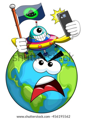 Cartoon proud UFO or alien ship craft planting flag of conquest on annoyed earth isolated