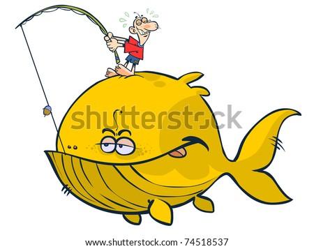 Cartoon proverbial big fish. - stock vector