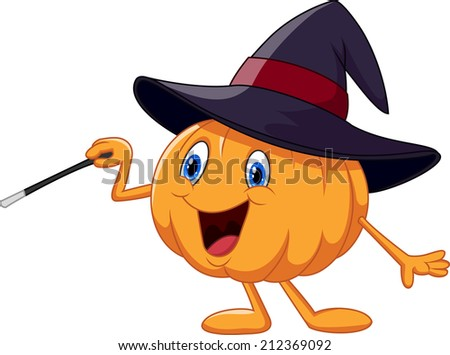 Cartoon pumpkin holding magic wand - stock vector