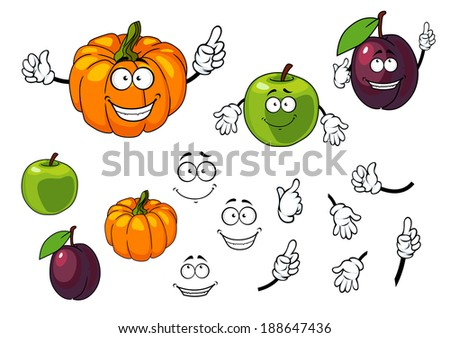 Cartoon pumpkin, plum and apple with happy faces isolated on white background - stock vector
